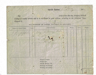 1856 Bill of Lading for Goods Purchased by J.K. Applebee