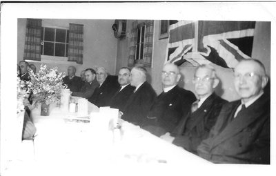 Reeve Wilbert Biggar with Colleagues, New Trafalgar Township Hall, 1950