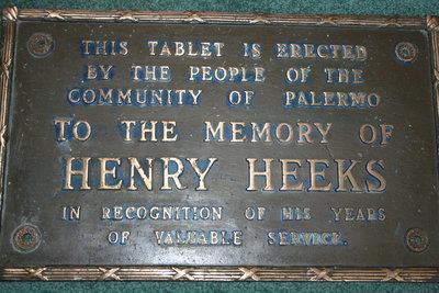 Palermo Plaque to Honour Henry Heeks