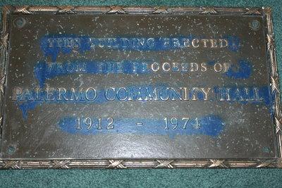 Palermo Community Hall Building Plaque 1921-1974