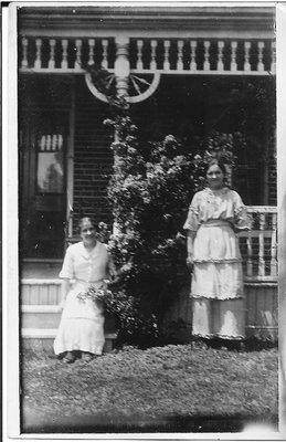 Postcard of Sisters Ethel and Luena Conover, Home on Dundas Street, Trafalgar