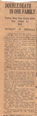 Newspaper Clipping re the 1921 Deaths of Michael Lafey and James William Biggar