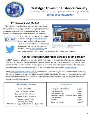 Trafalgar Township Historical Society Newsletter 2016 Spring