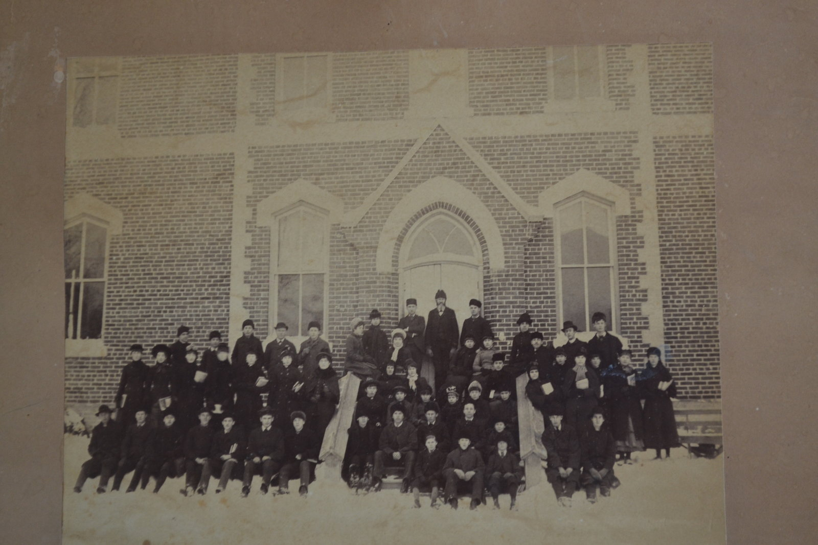 Teachers and Students in Front of Oakville Trafalgar High School in Winter