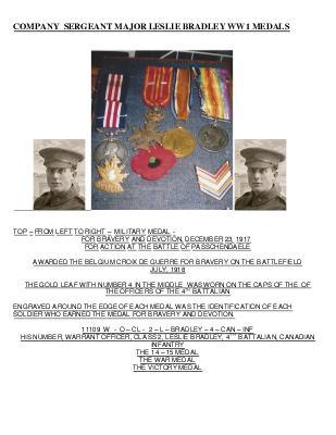 Company Sergeant Major Leslie Bradley, 1889-1979