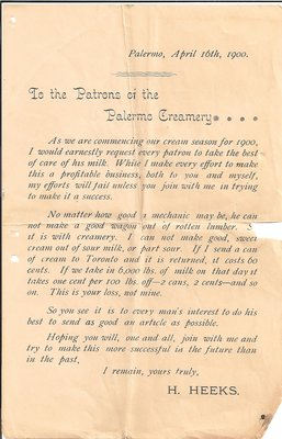 1900 Notice to the Patrons of the Palermo Creamery by Henry Heeks
