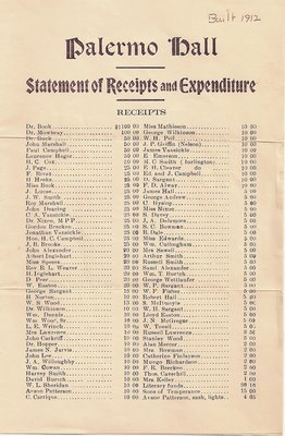 Palermo Hall Receipts and Expenditures