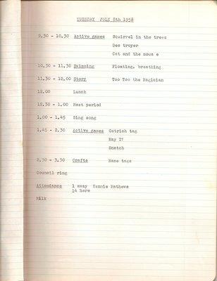 1959 Oakville Day Camp Journal of Group Leader Janet Lees