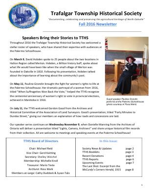 Trafalgar Township Historical Society Newsletter 2016 Fall