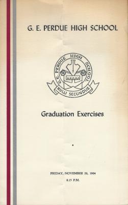 Gordon E. Perdue High School, 1964 Graduation Programme