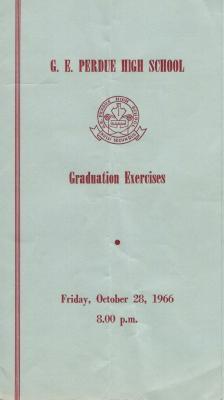 Gordon E. Perdue High School, 1966 Graduation Programme