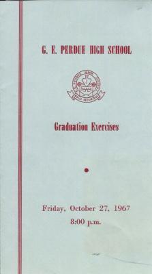 Gordon E. Perdue High School, 1967 Graduation Programme