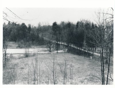 The Old Middle Road Bridge with the New Queen Elizabeth Way Highway Over Bronte Creek