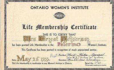 Mrs. Ernest Henderson, Life Membership Certificate, Palermo Women's Institute, 1953