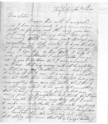 1855 Letter from Mary (Buckton) Hardy to Her Sister, Elizabeth (Buckton) Coates