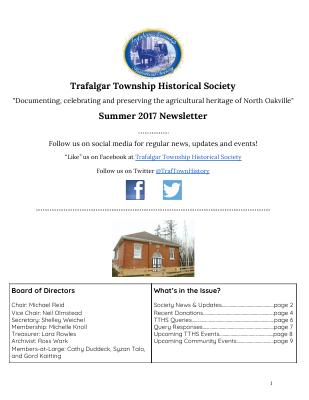 Trafalgar Township Historical Society 2017 Newsletter Summer