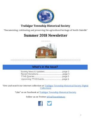Trafalgar Township Historical Society Newsletter 2018 Summer