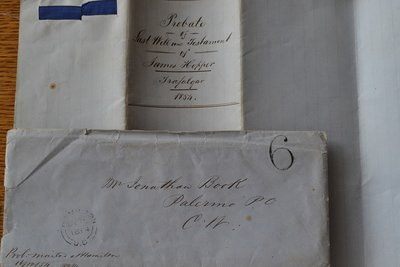 Probate of Last Will and Testament of James Hopper, Trafalgar, 1854