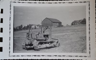 Closeup of the Bulldozer for Digging Pond, Shillum Farm, 1953