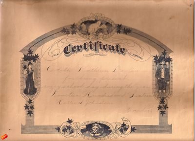 School Attendance Certificate of Edith Kathleen Devlin, 1916