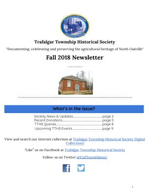 Trafalgar Township Historical Society Newsletter 2018 Fall