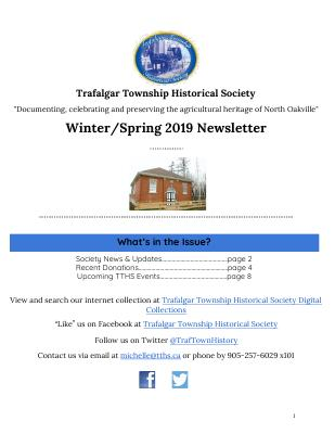 Trafalgar Township Historical Society Newsletter 2019 Winter/Spring
