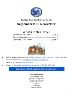 Trafalgar Township Historical Society Newsletter September 2019