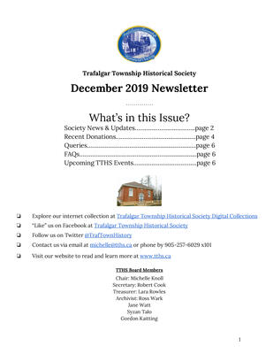 Trafalgar Township Historical Society Newsletter December 2019