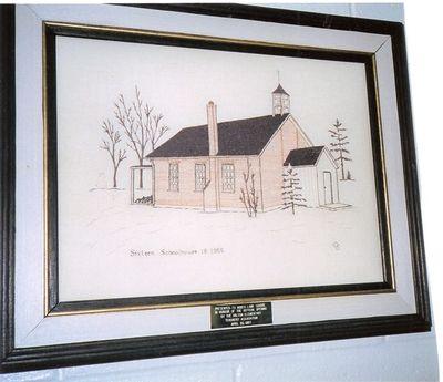 Sketch of S.S. #16, Trafalgar, the Sixteen Schoolhouse