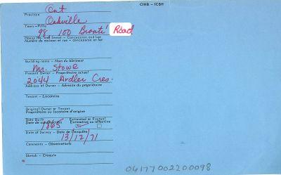 98, 100 Bronte Road,  Canadian Inventory of Heritage Buildings, 1971