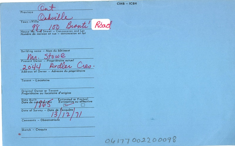 98, 100 Bronte Road, Oakville, Canadian Inventory of Heritage Buildings, 1971