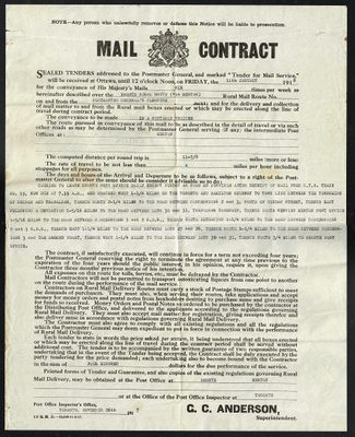 Rural Route #1, Bronte, Mail Contract, 1918