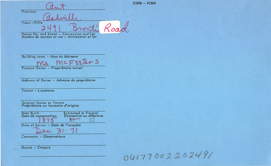 2491 Bronte Road, Oakville, Canadian Inventory of Heritage Buildings, 1971