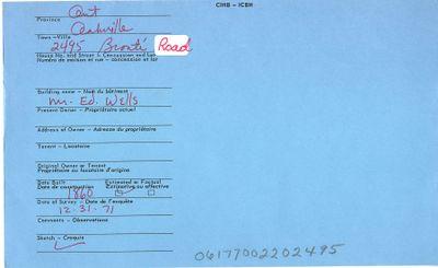 2495 Bronte Road, Canadian Inventory of Heritage Buildings, 1971