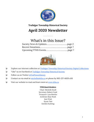 Trafalgar Township Historical Society Newsletter April 2020