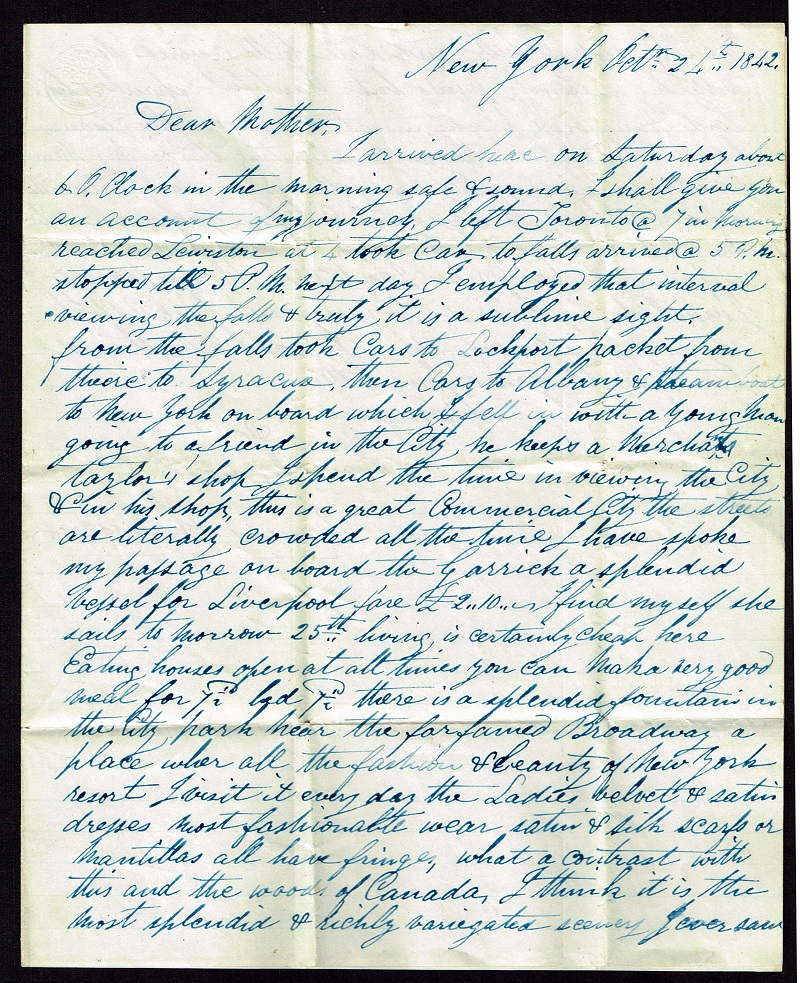 1842 Letter to Mrs. Thomson From Her Son, James Thomson