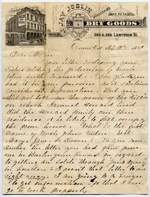 Letter from Jennie Bell to her Mother, Frances Oakley