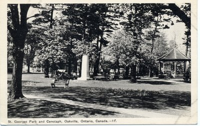 Postcard of George's Square with Cenotaph, Oakville, Ontario, Canada