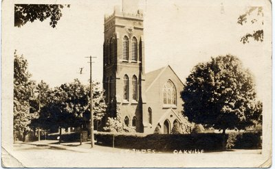 WWI Postcard of St. Jude's Anglican Church, Oakville