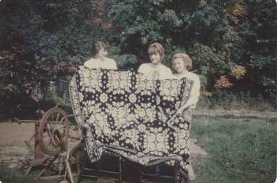 Mackenzie Tapestry. Audrey, Marilyn, and Eleanor Cairns, November 1951.