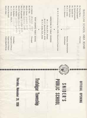 Snider's School Opening Program, November 29, 1956