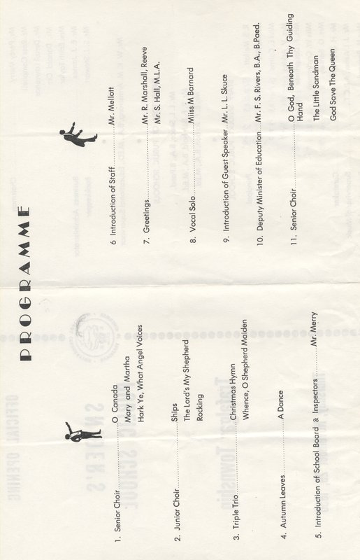 Snider's School Opening Program, November 29, 1956