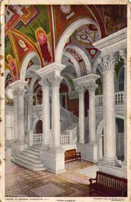 Postcard Showing the Library of Congress, Washington D.C., 1914.