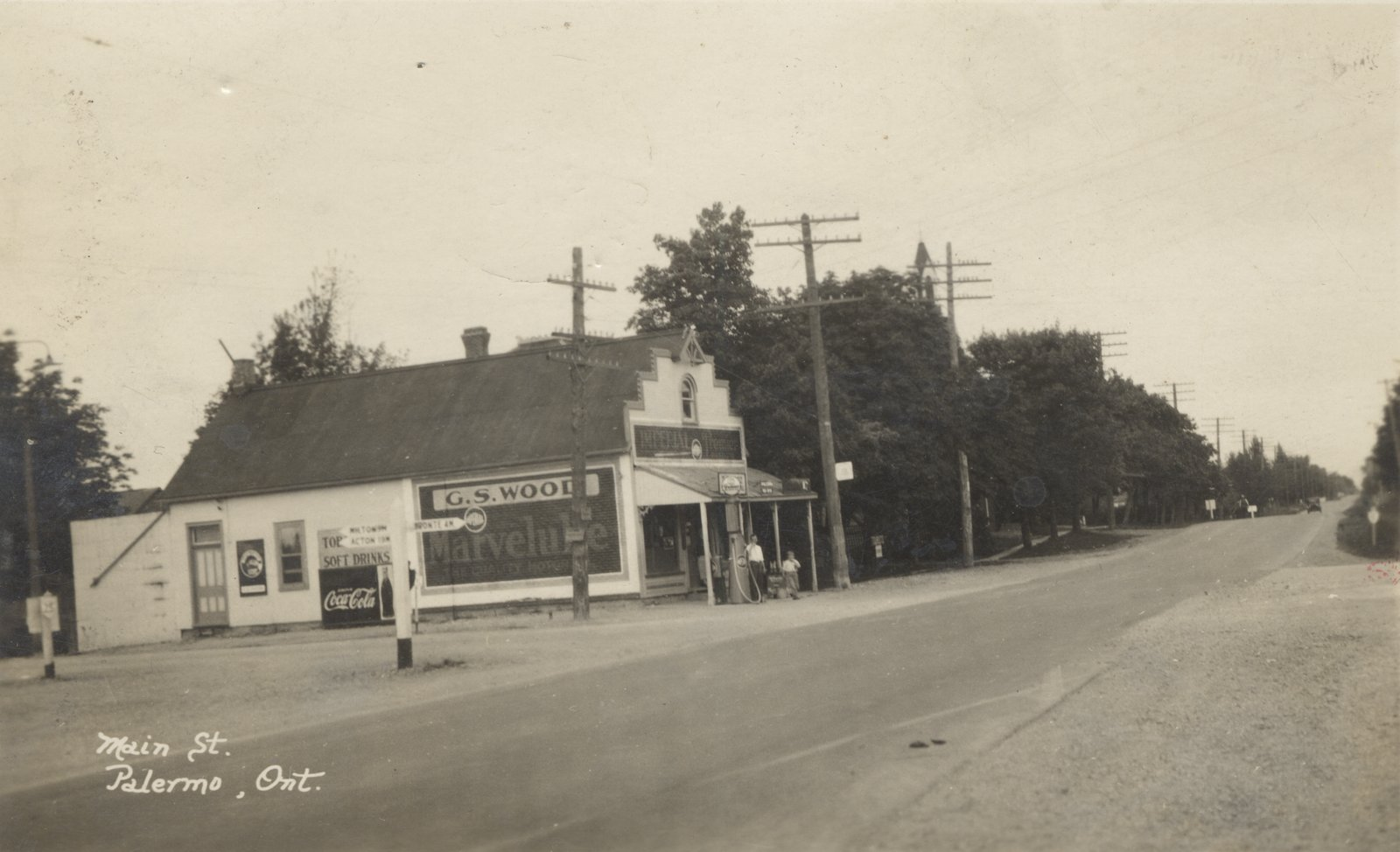 Palermo postcard.  (Main St, Palermo Ont.)