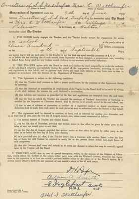 Teaching Contract Between Ethel Wettlaufer and the Trafalgar School Area no 1. 1944.
