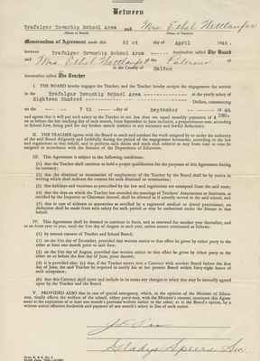 Teaching Contract Between Ethel Wettlaufer and the Trafalgar School Area, 1948