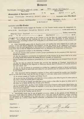 Teaching Contract Between Ethel Wettlaufer and the Trafalgar School Area, 1951