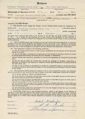 Teaching Contract Between Ethel Wettlaufer and the Trafalgar School Area, 1952