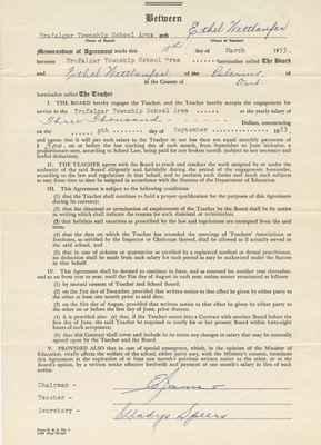 Teaching Contract Between Ethel Wettlaufer and the Trafalgar School Area, 1953