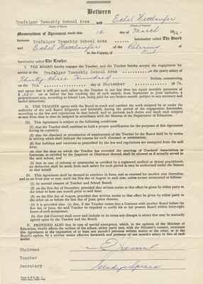 Teaching Contract Between Ethel Wettlaufer and the Trafalgar School Area, 1954